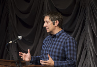 "Acclaimed theatre artist Robert Lepage presented the 2014 Jack and Lewis Rudin Distinguished Visiting Scholars Lecture, ""Creating Outside of the Frame,"" to a packed theater in 2014"